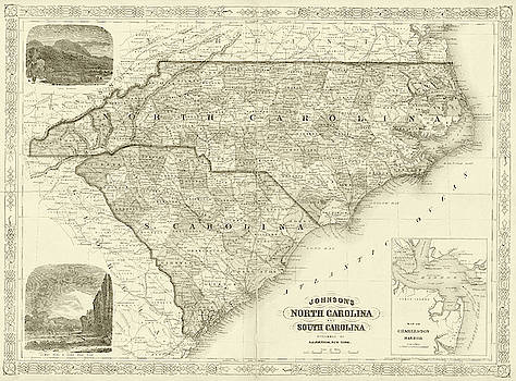 Toby McGuire - 1865 map of North and South Carolina NC SC Sepia