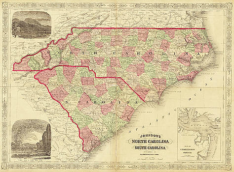 Toby McGuire - 1865 map of North and South Carolina NC SC