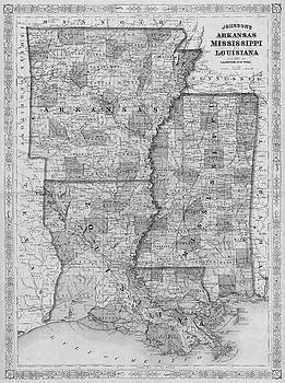 Toby McGuire - 1866 Map of Arkansas Mississippi and Louisiana Historical Map Black and White