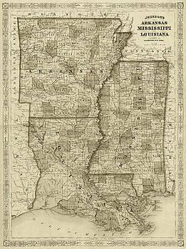 Toby McGuire - 1866 Map of Arkansas Mississippi and Louisiana Historical Map Sepia