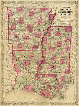 Toby McGuire - 1866 Map of Arkansas Mississippi and Louisiana Historical Map