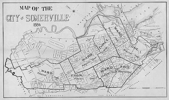 Toby McGuire - 1884 City of Somerville MA Ward Map Black and White