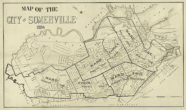 Toby McGuire - 1884 City of Somerville MA Ward Map Sepia