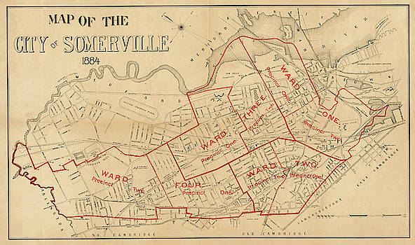 Toby McGuire - 1884 City of Somerville MA Ward Map