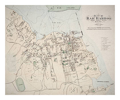 1887 Map of Bar Harbour by Pennie McCracken