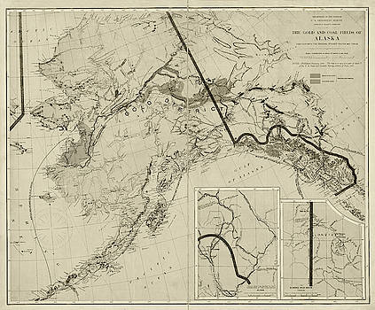 Toby McGuire - 1898 The Gold and Coal Fields of Alaska Map Sepia