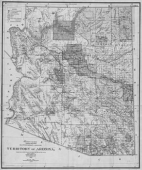 Toby McGuire - 1899 Territory of Arizona Map Historical Map Black and White