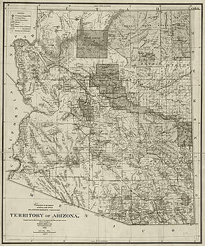 Toby McGuire - 1899 Territory of Arizona Map Historical Map Sepia