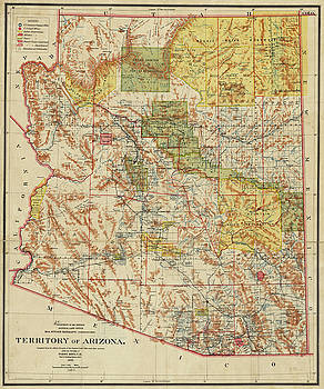 Toby McGuire - 1899 Territory of Arizona Map Historical Map