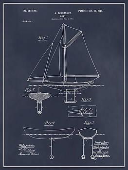 Greg Edwards - 1901 Schoenhut Sail Boat Patent Print Blackboard