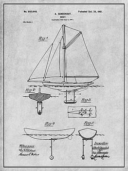 Greg Edwards - 1901 Schoenhut Sail Boat Patent Print Gray