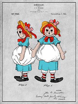 Greg Edwards - 1915 Color Raggedy Ann Doll Gray Colorized Patent Print