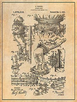 Greg Edwards - 1917 Harry Houdini Divers Suit Patent Print Antique Paper