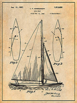 Greg Edwards - 1927 Herreshoff Sail Boat Patent Print Antique Paper