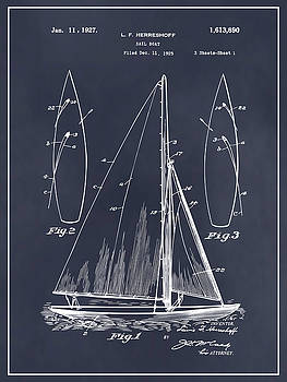 Greg Edwards - 1927 Herreshoff Sail Boat Patent Print Blackboard