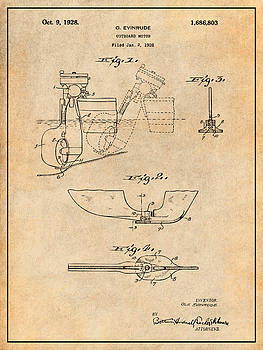 Greg Edwards - 1928 Evinrude Outboard Motor Antique Paper Patent Print