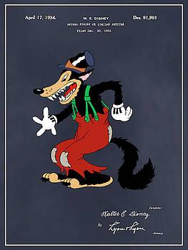 Greg Edwards - 1934 Walt Disney Big Bad Wolf Blackboard Colorized Patent Print