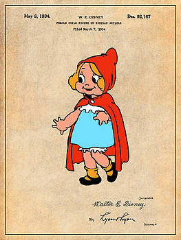 Greg Edwards - 1934 Walt Disney Little Red Riding Hood Antique Paper Colorized Patent Print