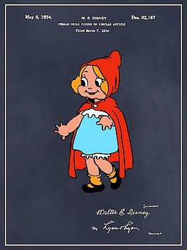 Greg Edwards - 1934 Walt Disney Little Red Riding Hood Blackboard Colorized Patent Print