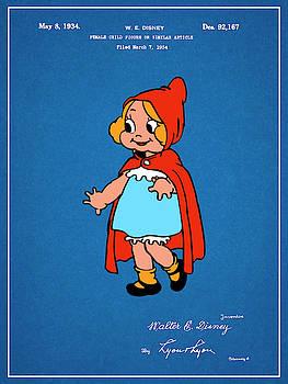 Greg Edwards - 1934 Walt Disney Little Red Riding Hood Blueprint Colorized Patent Print