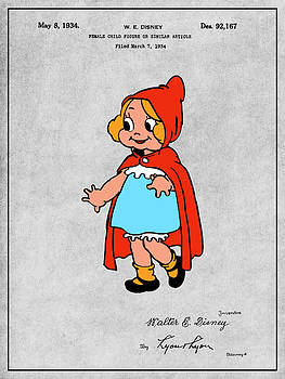 Greg Edwards - 1934 Walt Disney Little Red Riding Hood Gray Colorized Patent Print