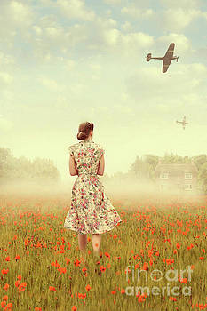 1940s Woman In A Meadow With Warplanes Overhead by Lee Avison