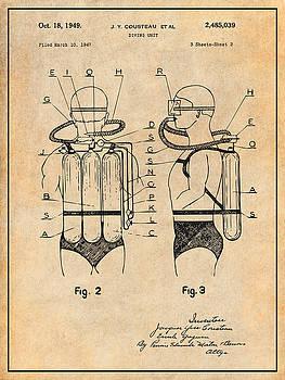 Greg Edwards - 1947 Jacques Cousteau Diving Suit Patent Print Antique Paper