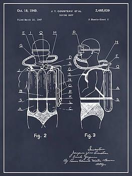 Greg Edwards - 1947 Jacques Cousteau Diving Suit Patent Print Blackboard
