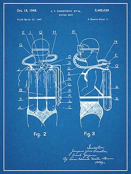 Greg Edwards - 1947 Jacques Cousteau Diving Suit Patent Print Blueprint