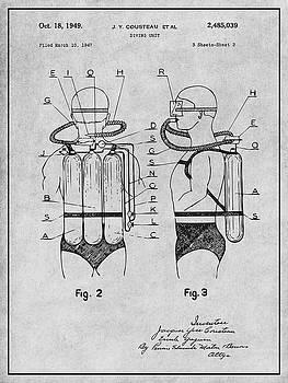 Greg Edwards - 1947 Jacques Cousteau Diving Suit Patent Print Gray