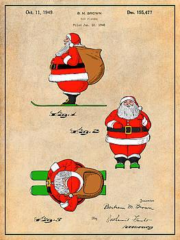 Greg Edwards - 1948 Colorized Santa Claus Antique Paper Colorized Patent Print
