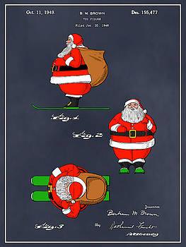 Greg Edwards - 1948 Colorized Santa Claus Blackboard Colorized Patent Print