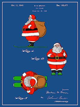 Greg Edwards - 1948 Colorized Santa Claus Blueprint Colorized Patent Print