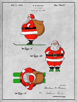 Greg Edwards - 1948 Colorized Santa Claus Gray Colorized Patent Print