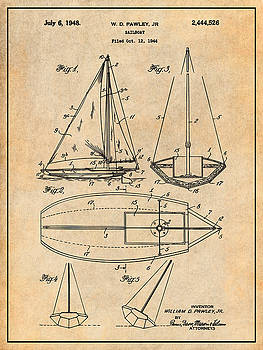 Greg Edwards - 1948 Pawley Sail Boat Sail Patent Print Antique Paper