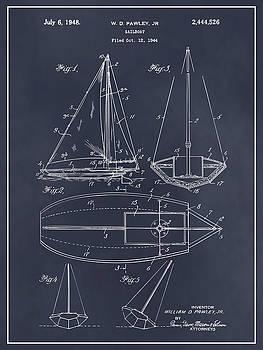 Greg Edwards - 1948 Pawley Sail Boat Sail Patent Print Blackboard