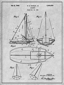Greg Edwards - 1948 Pawley Sail Boat Sail Patent Print Gray