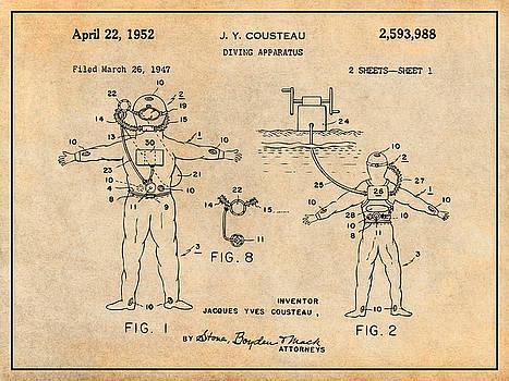 Greg Edwards - 1952 Jacques Cousteau Diving Apparatus Patent Print Antique Paper