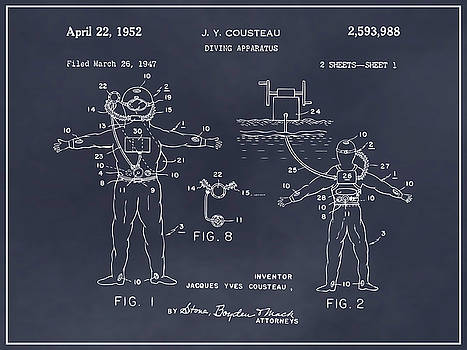 Greg Edwards - 1952 Jacques Cousteau Diving Apparatus Patent Print Blackboard
