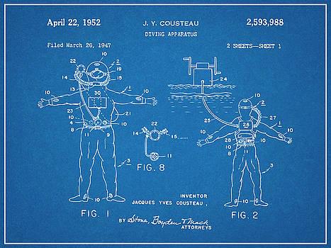 Greg Edwards - 1952 Jacques Cousteau Diving Apparatus Patent Print Blueprint