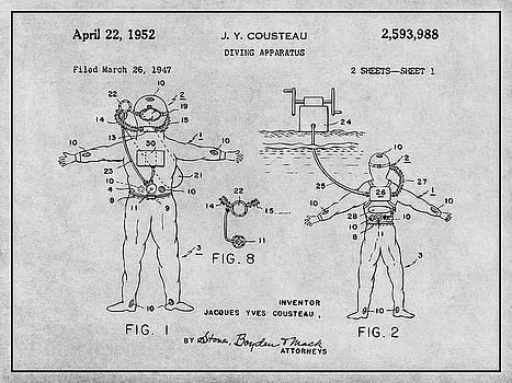 Greg Edwards - 1952 Jacques Cousteau Diving Apparatus Patent Print Gray