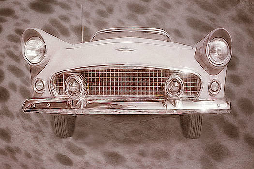 1956 Ford Thunderbird - Front View - Sepia by Mitch Spence
