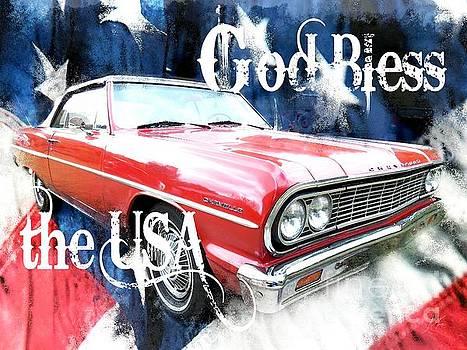 1964 Chevrolet Malibu Convertible - God Bless the USA by Anita Faye