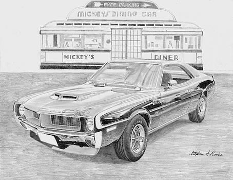 1970 AMC Javelin Mark Donohue SST MUSCLE CAR ART PRINT by Stephen Rooks