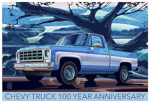 1980 CHEVY CUSTOM C10 SHORT BED Poster Art by Garth Glazier