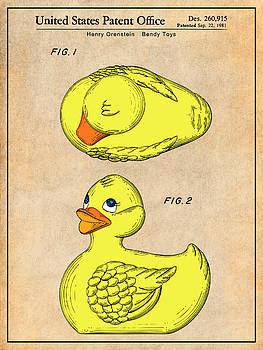 Greg Edwards - 1981 Rubber Ducky Antique Paper Colorized Patent Print