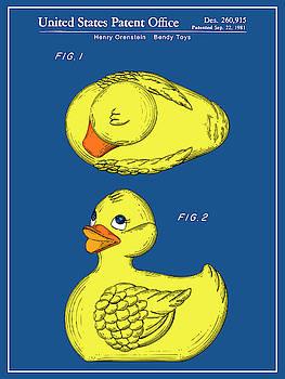 Greg Edwards - 1981 Rubber Ducky Blueprint Colorized Patent Print
