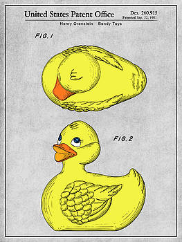 Greg Edwards - 1981 Rubber Ducky Gray Colorized Patent Print