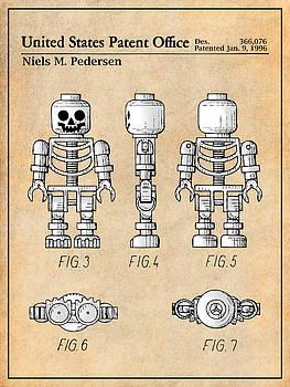 Greg Edwards - 1996 Lego Toy Skeleton Figure Antique Paper Colorized Patent Print