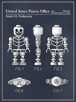Greg Edwards - 1996 Lego Toy Skeleton Figure Blackboard Colorized Patent Print